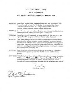 Vets Stand Down - Proclamation 2015 - Central City