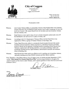 Vets Stand Down - Proclamation 2015 - Coggon