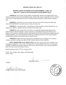 Vets Stand Down - Proclamation 2015 - Fairfax
